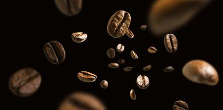 Foto de Coffee beans in flight on a dark background - Imagen libre de derechos