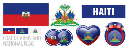 Illustration for Vector set of the coat of arms and national flag of Haiti - Royalty Free Image