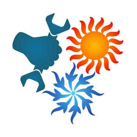 Ilustración de Air conditioning repair sign for - Imagen libre de derechos
