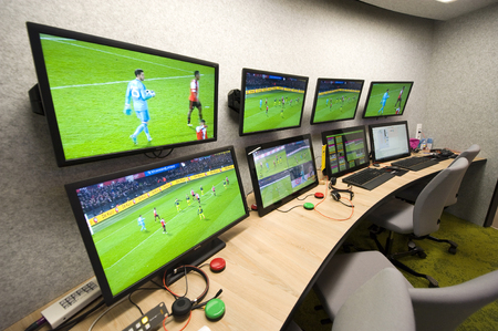 ZEIST, THE NETHERLANDS - NOV 30, 2018: The 'Arag KNVB Replay Center' at the headquarters of the Dutch soccer federation is the room where the VAR (video assistant referee) is working.