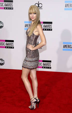 Taylor Swift at the 2010 American Music Awards held at the Nokia Theatre L.A. Live in Los Angeles on November 21, 2010.