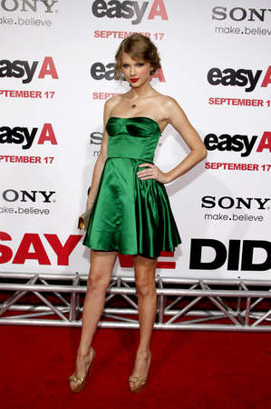 Taylor Swift at the Los Angeles premiere of 'Easy A' held at the Grauman's Chinese Theater in Hollywood on September 13, 2010.