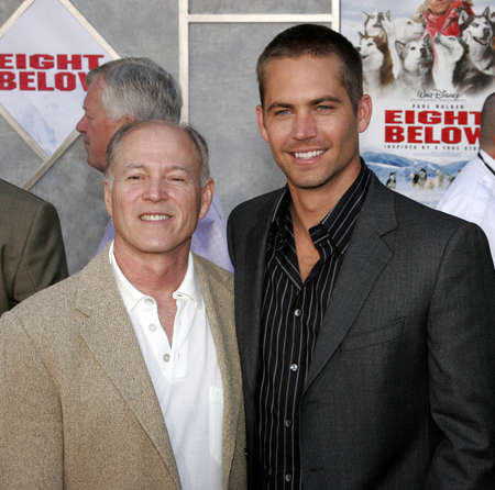 Frank Marshall (L) and Paul Walker at the World premiere of Eight Below held at the El Capitan Theater in Hollywood, USA on February 12, 2006.