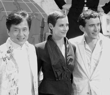 Cecile De France, Jackie Chan and Steve Coogan at the Los Angeles premiere of 'Around The World In 80 Days' held at the El Capitan Theater in Hollywood, USA on June 13, 2004.