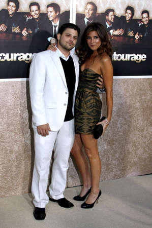 Jerry Ferrara and Jamie-Lynn Sigler at the HBO's Official Premiere of Entourage Season 6 held at the Paramount Pictures Studios in Hollywood, USA on July 9, 2009.