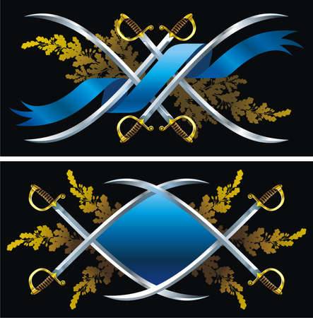 Two backgrounds with sabers, ribbons and oak branches.
