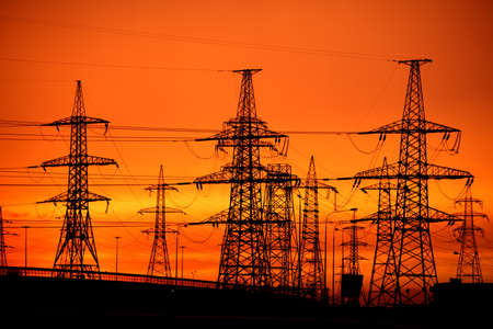 Photo for transmission power line on sunset - Royalty Free Image