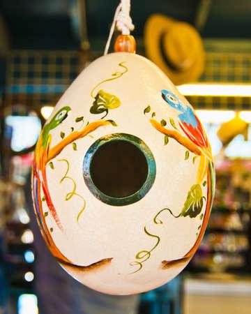 Colorful bird house on display at Olvera Street flea market
