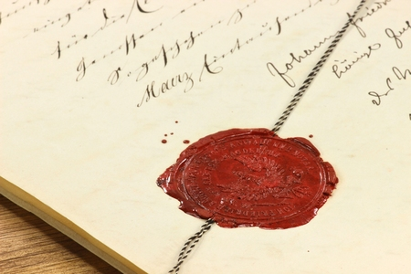 antique wax seal on old notarial document