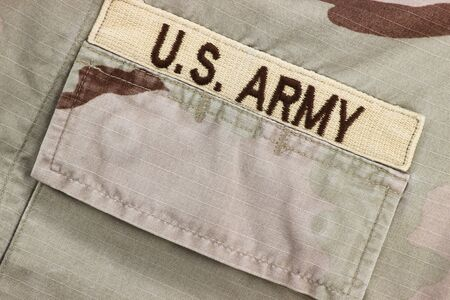 US Army patch on desert uniform