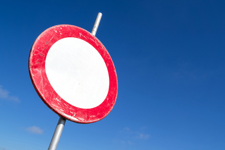 Dutch road sign: road closed in both directions to vehicles, riders and persons in charge of animals or livestock