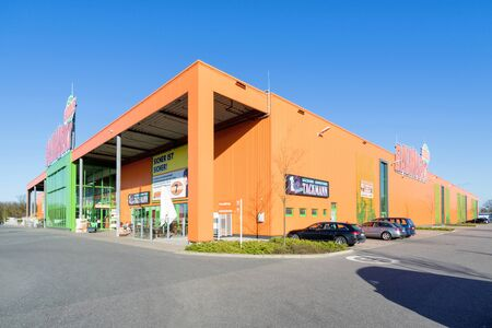Globus Baumarkt in Kaltenkirchen, Germany. Globus is a German retail chain of hypermarkets, DIY stores and electronics stores.