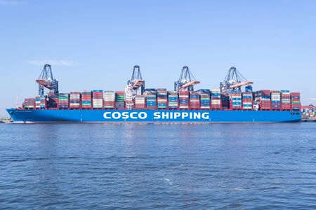 Photo for COSCO SHIPPING CAPRICORN moored at the Euromax Terminal. COSCO is a Chinese state-owned shipping and logistics services supplier company. - Royalty Free Image