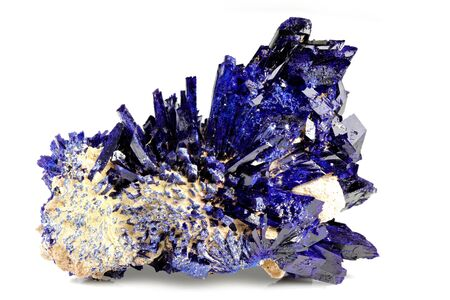 Foto für azurite crystal cluster from Kerrouchen, Morocco isolated on white background - Lizenzfreies Bild