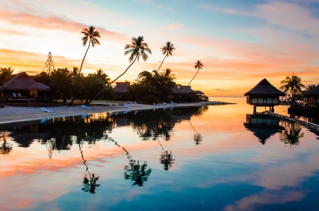 Tropical Sunset at Moorea, French Polynesia