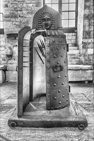 GUBBIO, ITALY - JANUARY 13: Medieval torture instrument featured in the exhibition Ancient instruments of torture and the death penalty, held in Gubbio, Italy, January 13, 2018