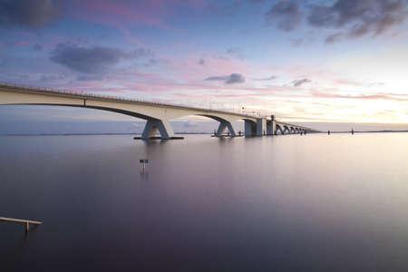 Zeeland bridge by sunset