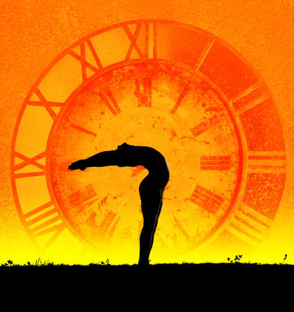Concept of yoga and time. Hasta Uttanasana pose from surya namaskar by Man in silhouette at clock background. Man is hands of clock representing ageless because of practice yoga