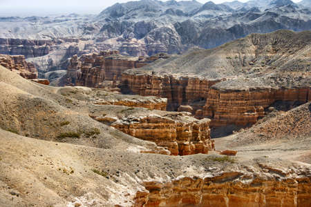 Charyn grand canyon in Kazakhstan. Beautiful view of cliffs from yellow red limestone