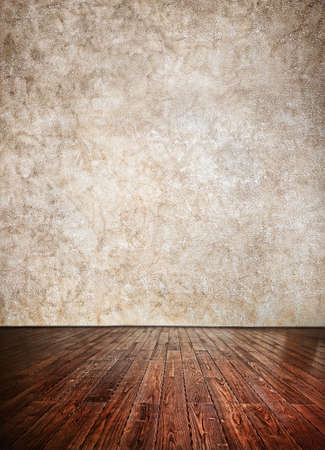 Wooden textured Floor and grunge brown wall background. Can be used as a template