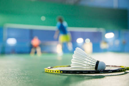 badminton - badminton courts with players competing