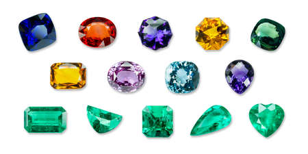 Bright gems isolated on a black background