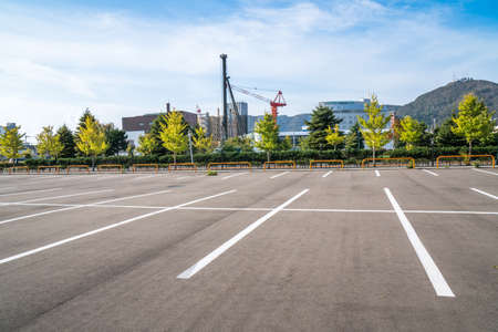 Photo for Empty space parking lot outdoor in public park. - Royalty Free Image
