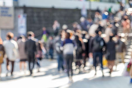 Photo pour Crowded street in Japan, blurred background - image libre de droit