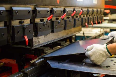 Photo pour Sheet metal bending in factory - image libre de droit