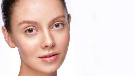Photo for Portrait of beautiful woman with light natural make-up and perfect skin. - Royalty Free Image