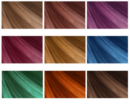 Photo for Hair Collection, shades, set of nine colors. straight hair. - Royalty Free Image