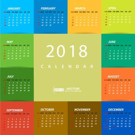 2018 multicolored calendar template