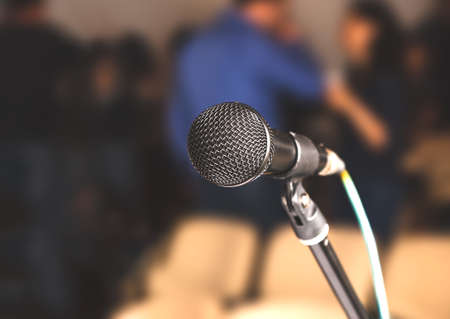 Photo pour Close-up microphone in conference room - image libre de droit