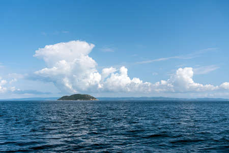 Beautiful sea Landscape with blue sky and clouds on sunny day