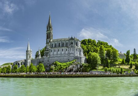 Photo for Panoramic View of Basilica Notre Dame in Lourdes France - Royalty Free Image