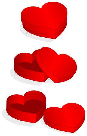illustration of heart shaped valentine box.