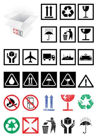 illustration set of packing symbols and labels.
