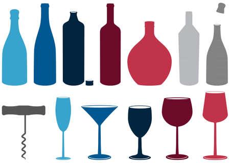 set of liquor bottles, glasses and corkscrew.