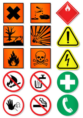 set of different international signs, laboratory associated.