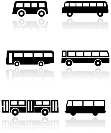 Illustration pour set of different bus or van symbols. - image libre de droit