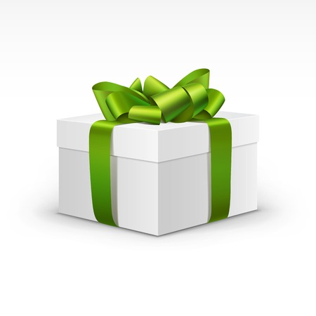Illustration pour White Gift Box with Light Green Ribbon Isolated - image libre de droit