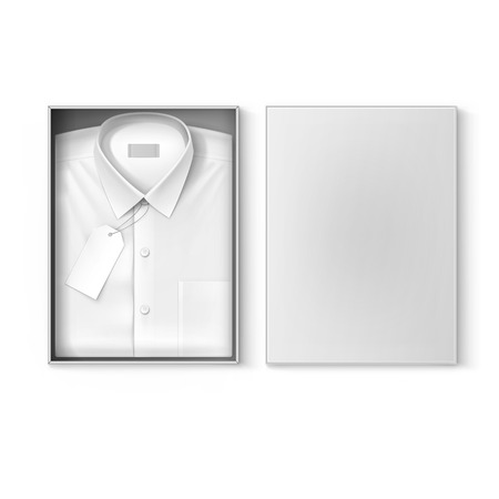 White classic men shirt with label in the packaging box isolated vector illustration