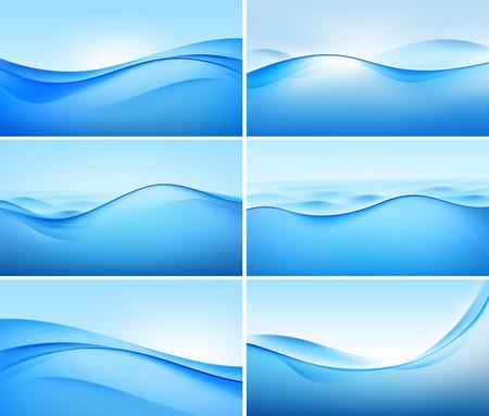 Ilustración de Illustration of Set of Abstract Blue Wave Backgrounds - Imagen libre de derechos