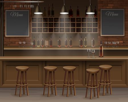 Illustration of Bar Cafe Beer Cafeteria Counter Desk Interior