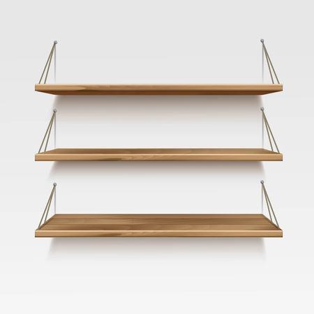 Illustration pour Empty Wooden Wood Shelf Shelves Isolated on Wall Background - image libre de droit