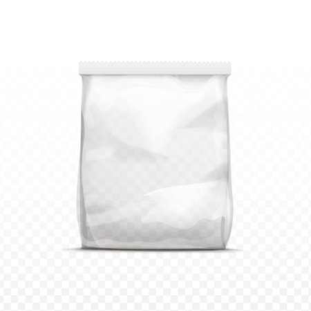 Vector White Vertical Sealed Empty Transparent Plastic Bag for Package Design  Close up Isolated on Transparent  Background