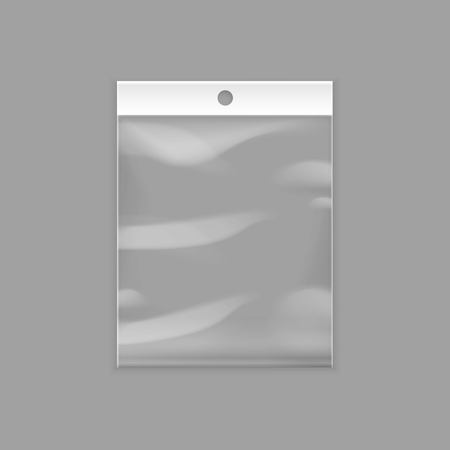 Illustration pour Vector Sealed Empty Transparent Plastic Pocket Bag with Hang Slot Close up Isolated on Background - image libre de droit
