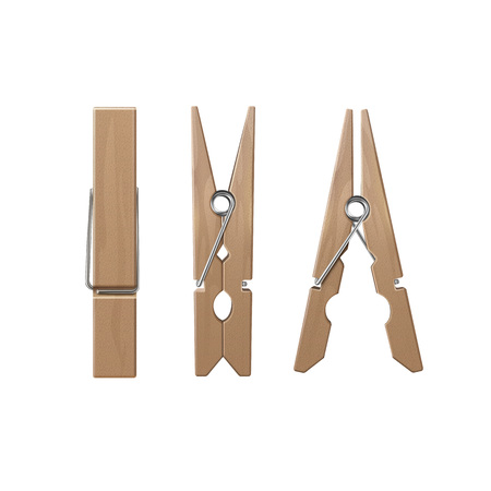Illustration for VectorSet of  Wooden Clothespins Pegs Front Side View Close up Isolated on White Background - Royalty Free Image
