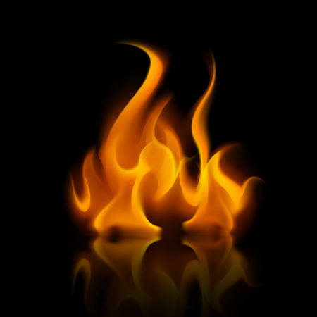 Illustration for Vector Yellow Orange Fire Flame Bonfire  Isolated on Background - Royalty Free Image
