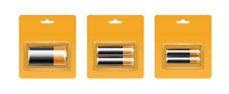 Vector Set of Black Yellow Golden Glossy Alkaline AA, AAA, C Batteries in Yellow Blister Packed for branding Close up Isolated on White Background